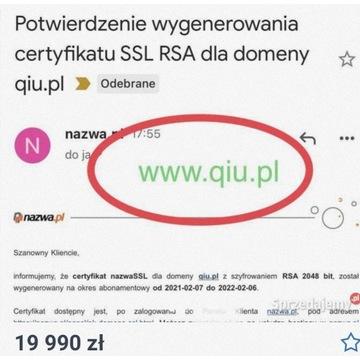 """DOMENA trzyliterowa z końcówką PL! """"Qiu.pl"""""""