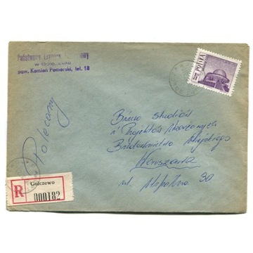 Golczewo (Kamień Pom.) - Koperty polecone 1972-76