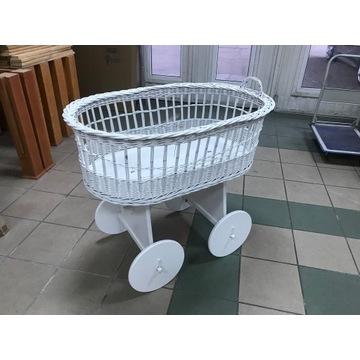 Łóżeczko, wózek, koszyk wiklinowy, białe