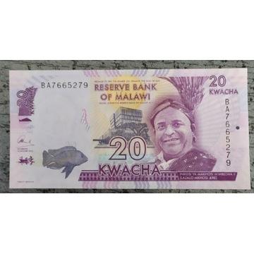 Malawi Banknot 20 Kwacha 2016 stan UNC