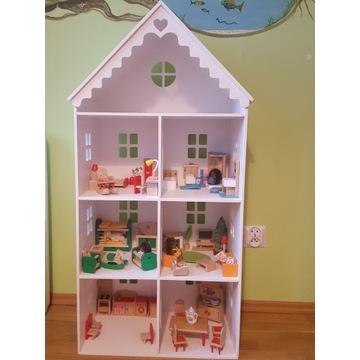Domek dla lalek drewniany wyposażony + figurki