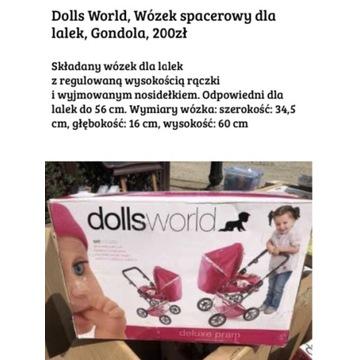 Dolls World wózek spacerowy dla lalek, gondola