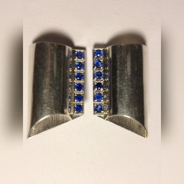 Kolczyki klipsy srebrne kamień szafirki