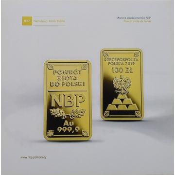 Folder do monety powrót złota do Polski