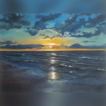 obraz olejny zachód słońca 70×90 cm.A.Budenko