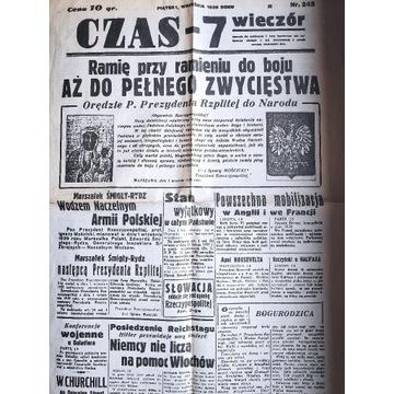 Antyk Gazeta CZAS-7 Wieczór z dnia 1 września 1939