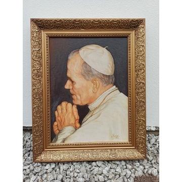 Obraz olejny Papież Jan Paweł Il oprawiony