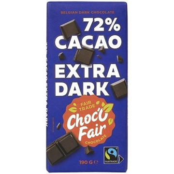 baton czekoladowy Choc-O-Fair Gorzki 72% 190 gramó
