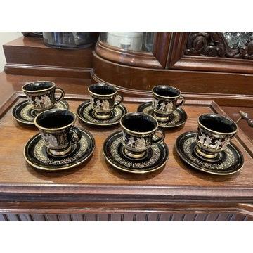 Filiżanki kawa espresso złocone ręczne Grecja