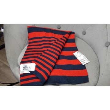 Szalik Nowy  One Size H&M  czerwony granat prążki