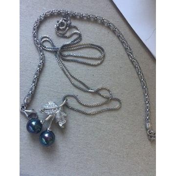Naszyjnik i bransoletka srebro, czarna perła