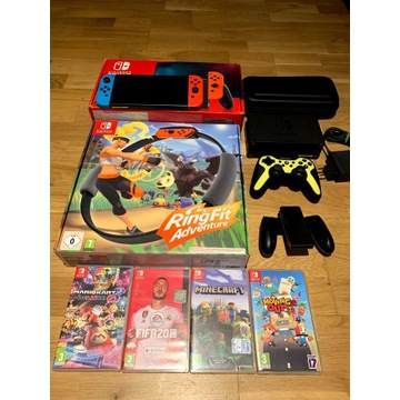 Nintendo Switch V2, 2 pady, RingFit, MEGA ZESTAW!!