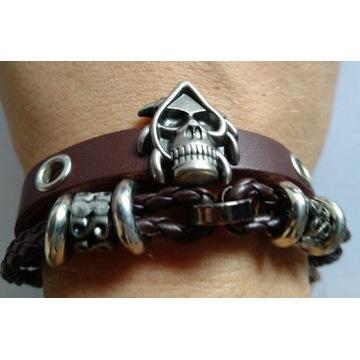 Bransoletka męska rock metal czaszka
