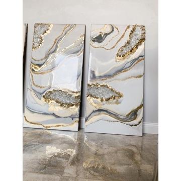 Obraz z żywicy 1 szt złoto biel nowoczesny
