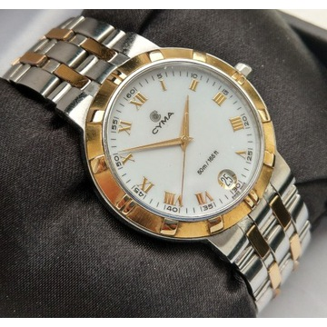 Piękny zegarek męski Cyma bicolor szafir