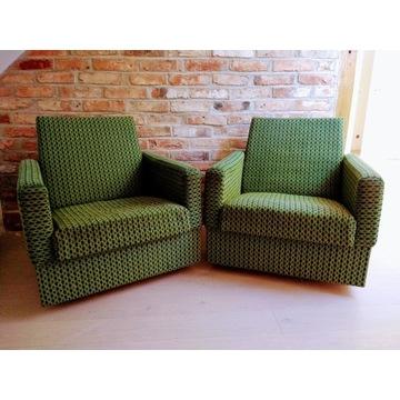 Fotele PRL butelkowa zieleń