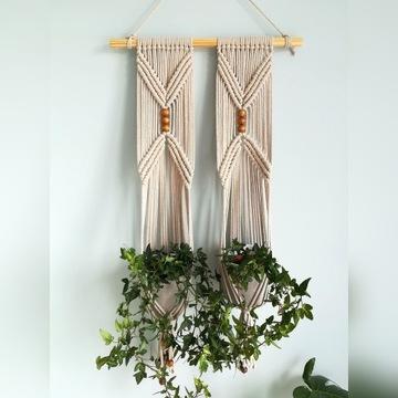 Kwietnik makrama na 2 doniczki ze sznurka wiszący