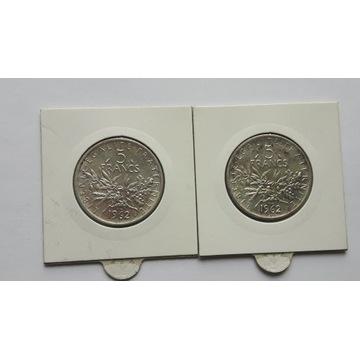 Francja 2x 5 franków 1962