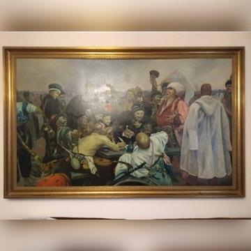 obraz olejny sygnowany kozacy