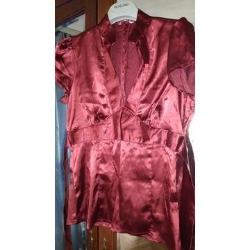Satyna bluzka czerwień wino WYPRZEDAŻ szafy