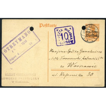 1918 POCZTA MIEJSKA Warszawa kartka z Siedlec