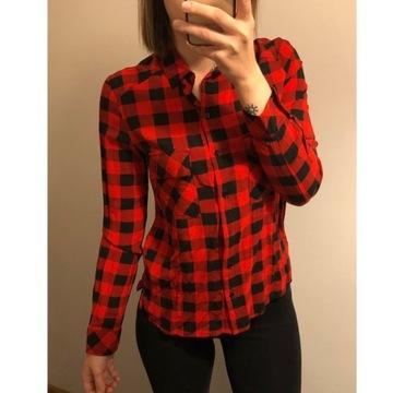 Czerwona koszula w czarną kratkę Bershka S