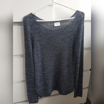 Granatowy sweter Vila metaliczne nici M 38