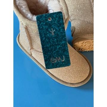 Buty dla dziecka emu, złote, rozmiar 24