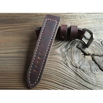 Pasek do zegarka skórzany handmade vintage 24 mm
