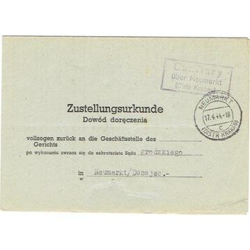 GG - Dowód doręcz. z Szaflar k. Nowego Targu 1944