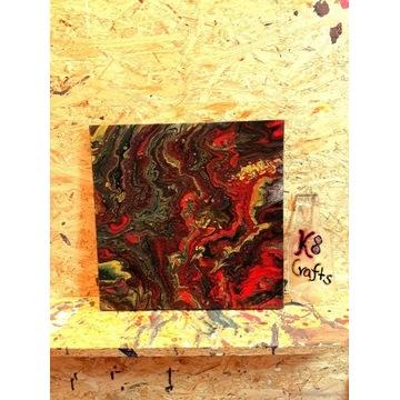 """Obraz """"Macki Ośmiornicy"""" 32x32cm acrylic pouring"""