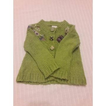 Zielony wełniany sweterek 2-3 lata Next