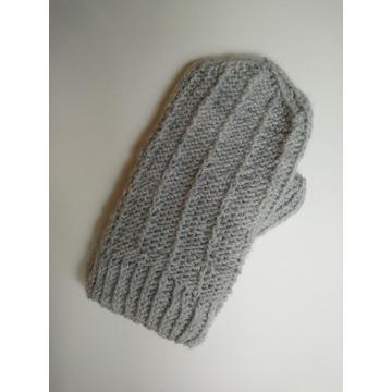 rękawiczki jeden palec, szare, ocieplane polarem