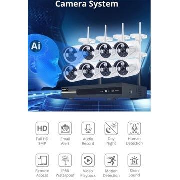 Zestaw kamer wi fi IP Rejestrator + 4 kamery 500GB