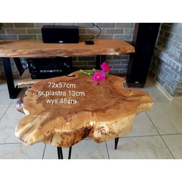 Stolik kawowy 72x57cm, plaster drewna, ława,