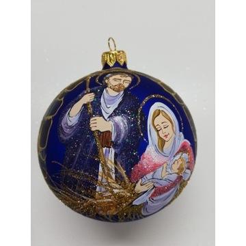 Bombka choinkowa szklana ręcznie malowana 10 cm.