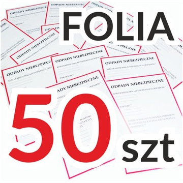 ODPADY NIEBEZPIECZNE etykiety naklejki FOLIA x 50