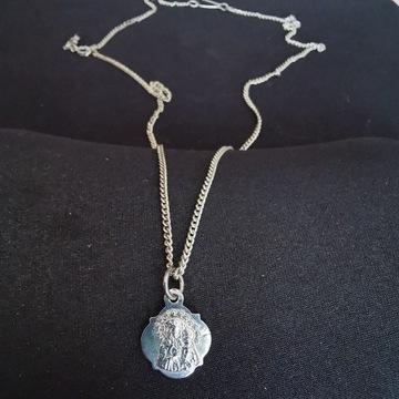 Posrebrzany medalik z łańcuszkiem Maryja Jezus