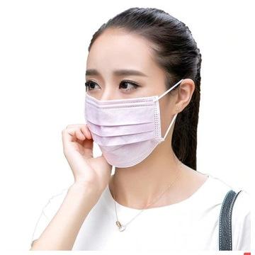 maska jednorazowa różowa lub biała 50 szt