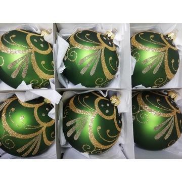 Bombki choinkowe szklane ręcznie malowane 10 cm.