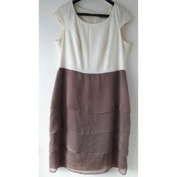Sukienka prosta kremowa/brązowa falbany  48