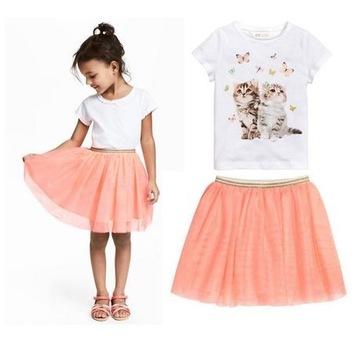 H&M tiulowa spódniczka + dżersejowa bluzka 134 140