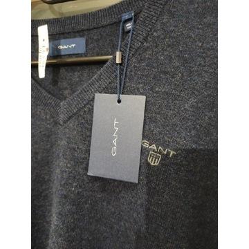 Sweter nowy GANT z wełny jagnięcej męski