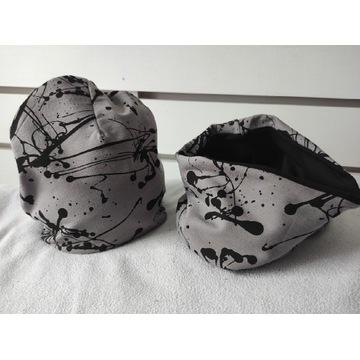 Komplet Szare Plamki czapka komin damskie  XS,M,XL