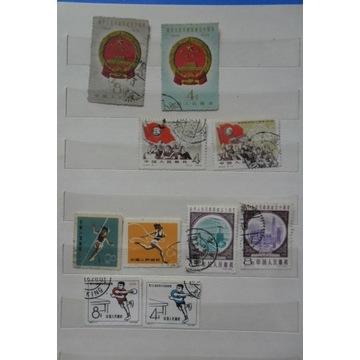 CHINY 1959r-10 kasowanych znaczków.Polityka,sport