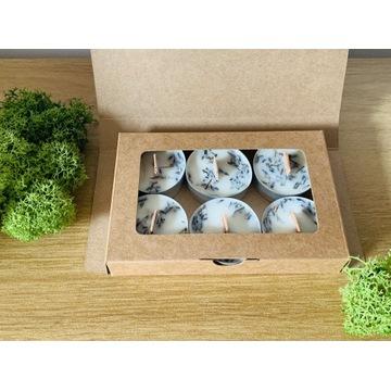 Pudełko tealight wosk sojowy 6 szt, lawenda,