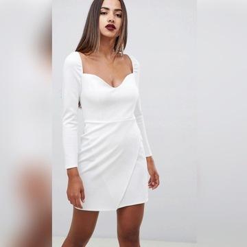 Biala sukienka asos kwadratowy dekolt