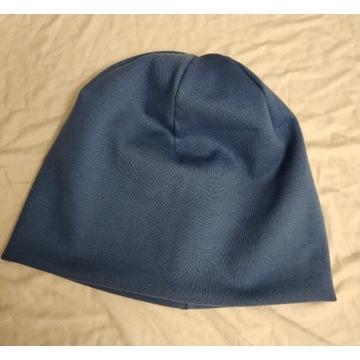 Czapka damska męska uni niebieska beanie handmade