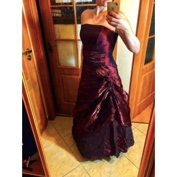 Bordowa suknia balowa wieczorowa na kole, gorset
