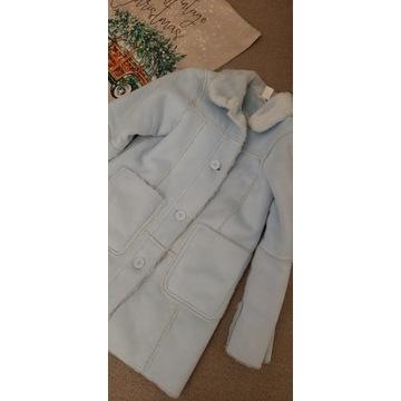 H&M kożuszek płaszcz blekitny futrko 5 6 116 122